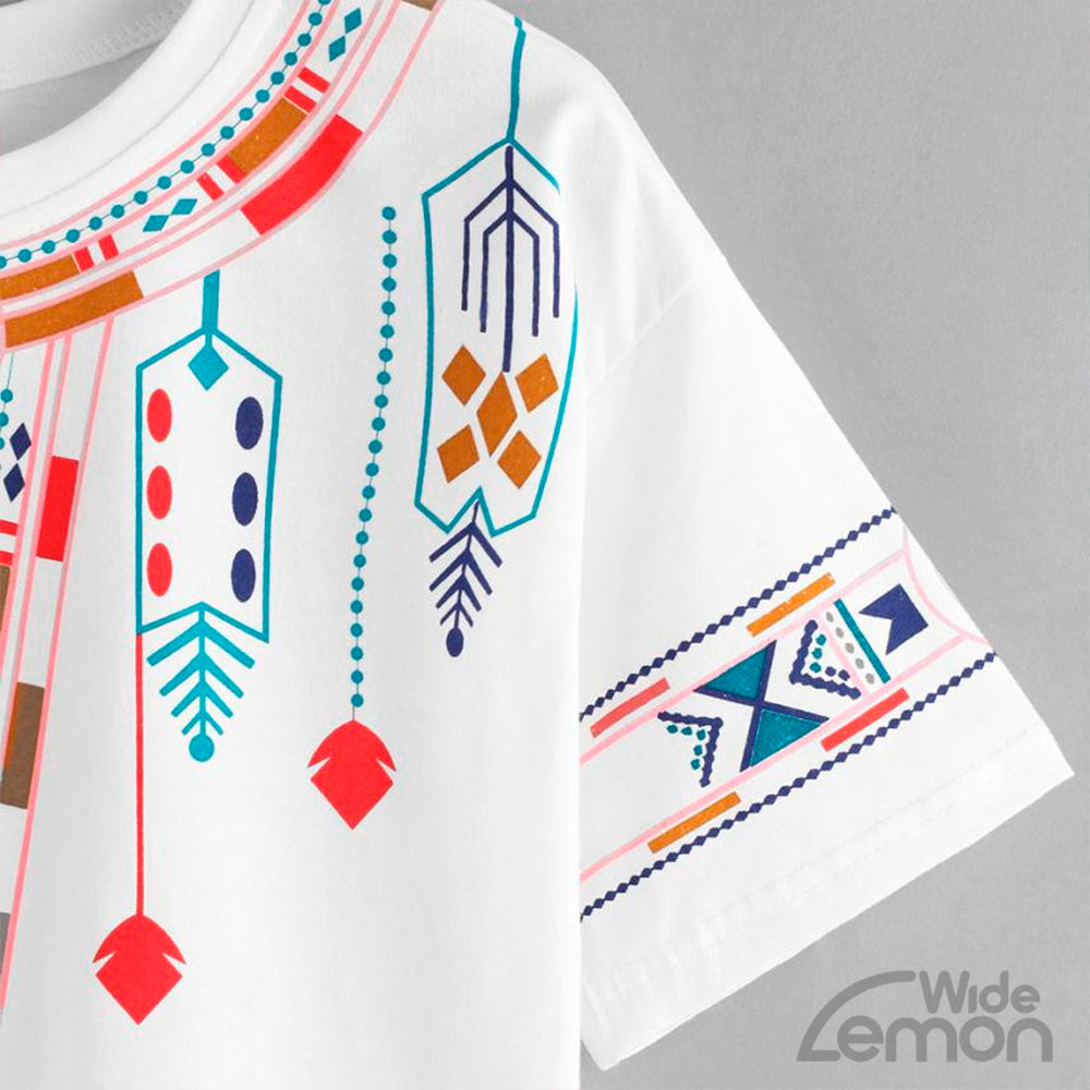 Short Sleeve Geometry Printed T-Shirt