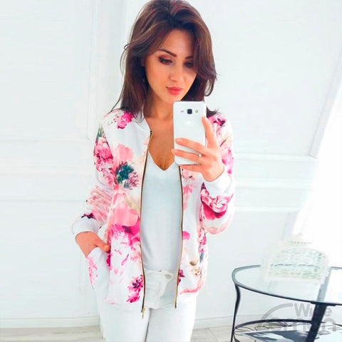 Pink Floral Print Long Sleeve Jacket