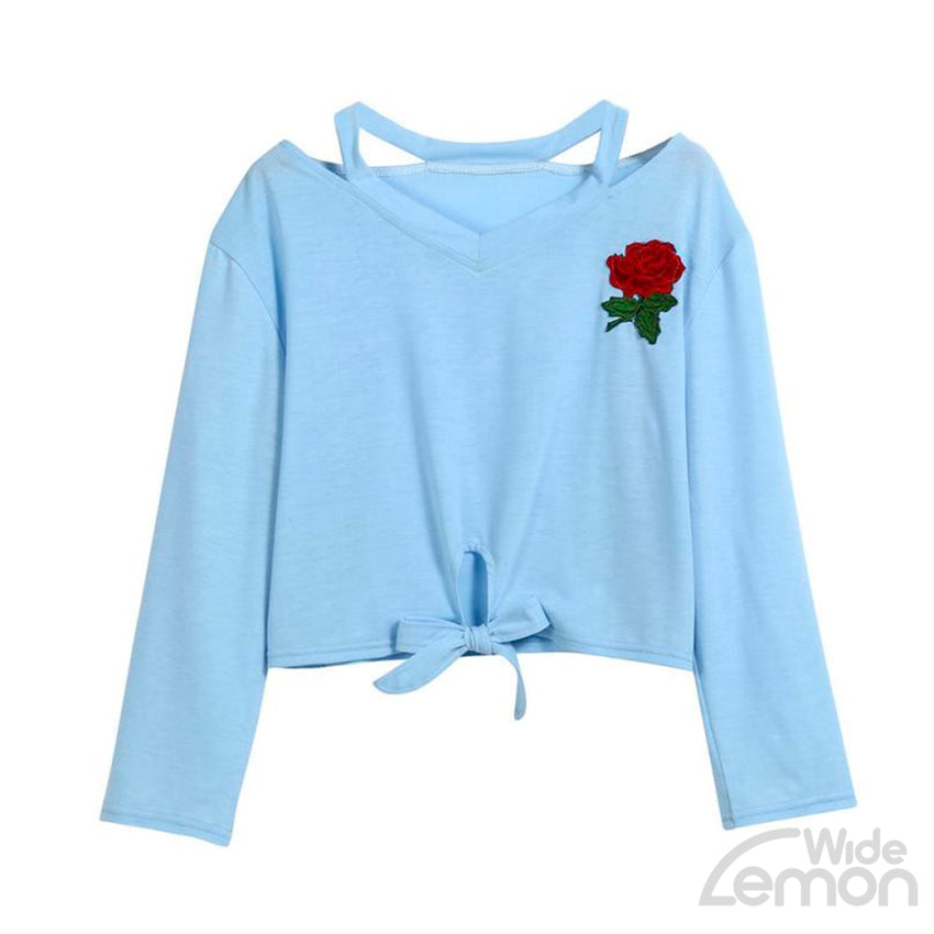 Rose Print Casual Blue Sweatshirt