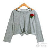 Rose Print Casual Grey Sweatshirt
