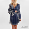 Short Blue Dress With White Lines