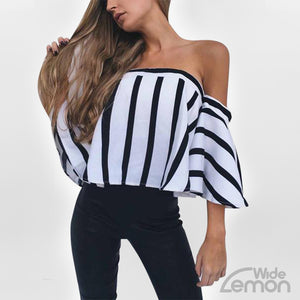 Off Shoulder Shirt With Lines