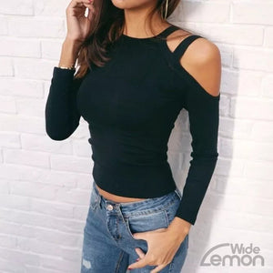Off The Shoulder Black Skinny Shirt