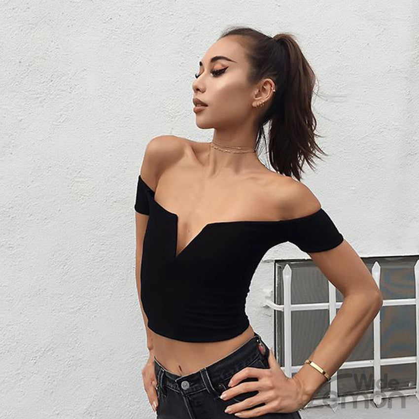 Black Crop Top Shirt