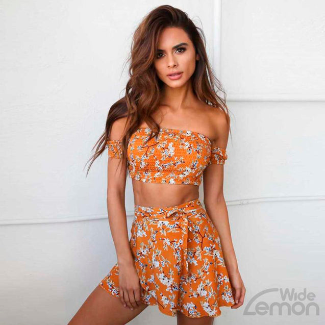 Flowers Print Two Piece Set