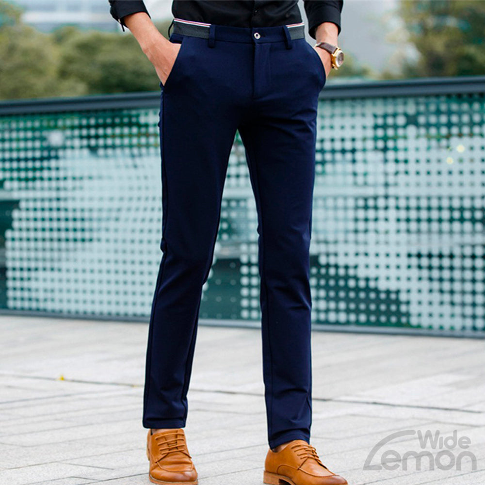 Navy Blue Skinny Chinos Trousers
