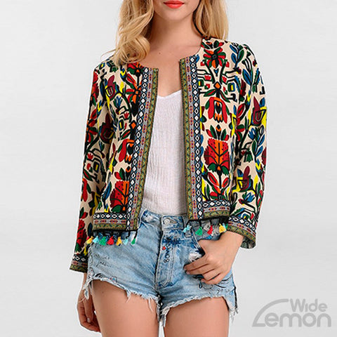 White Floral Long Sleeve Blazer