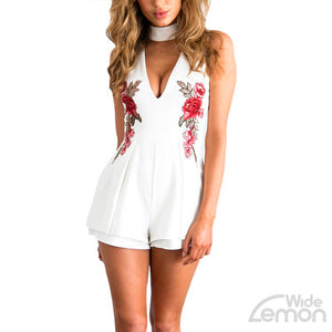 V-neck White Short Jumpsuit With Flowers