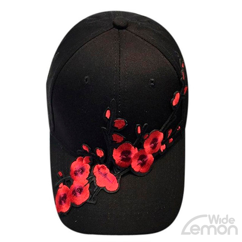 Black Flowers Print Cap