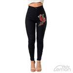 Black Skinny High Waist Jeans With Flowers