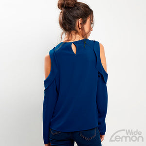Blue Off Shoulders Blouse
