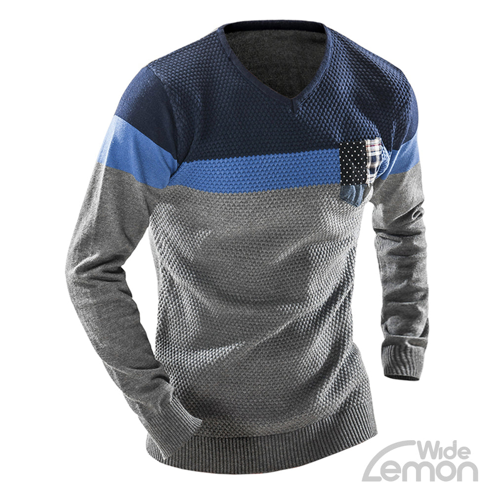 Blue V-Neck Long Sleeve Knitwear