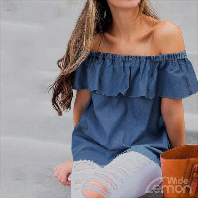 Blue Off The Shoulders Blouse