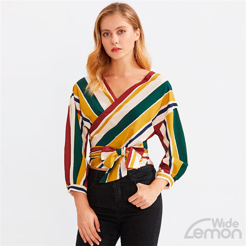 V-Neck Stripe Blouse Multicolor