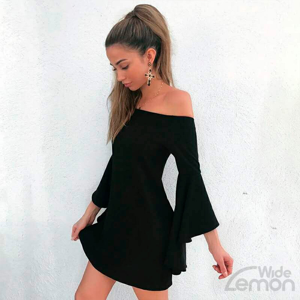 Black Off Shoulder Long Sleeve Dress