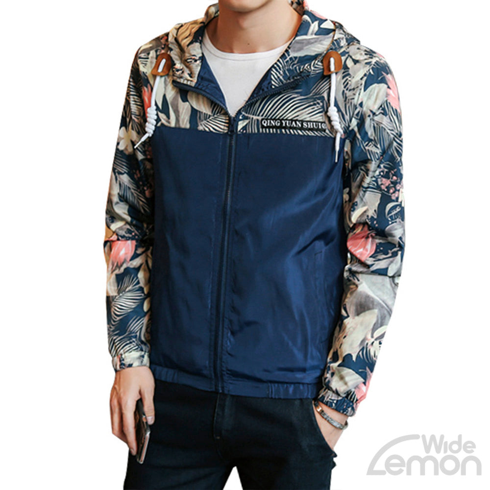 Blue Floral Printed Bomber Jacket