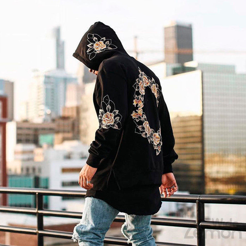 Black Flowers Print Long Sleeve Hoodie Sweatshirt
