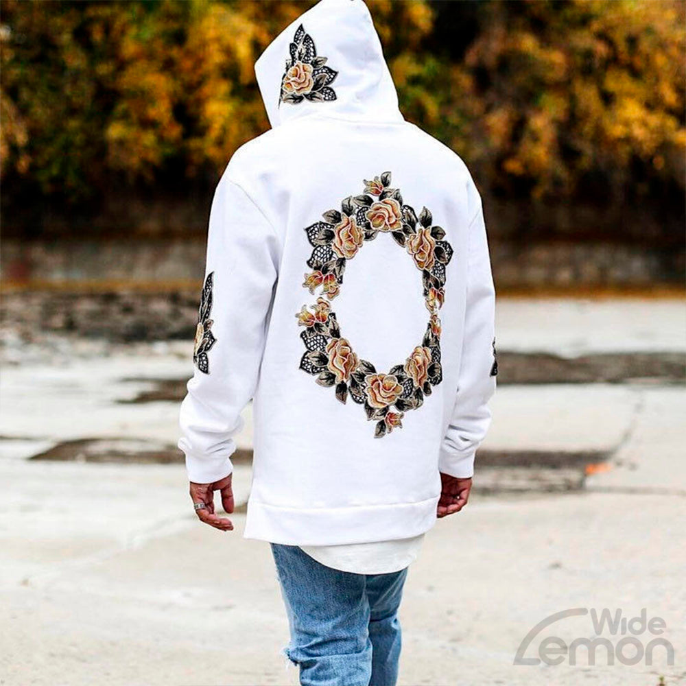 White Flowers Print Long Sleeve Hoodie Sweatshirt