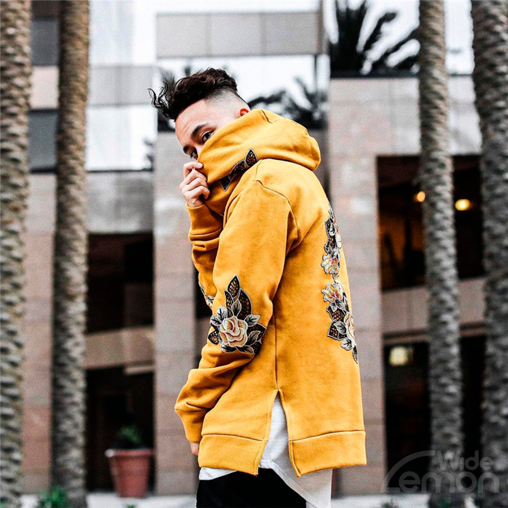 Yellow Flowers Print Long Sleeve Hoodie Sweatshirt