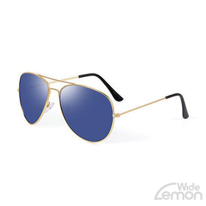 Gold Blue Mirror Sunglasses.