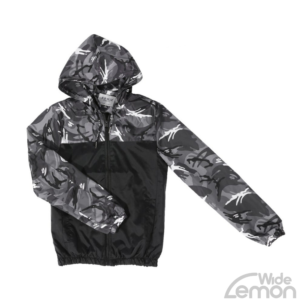 Grey Camouflage Jacket With Hood