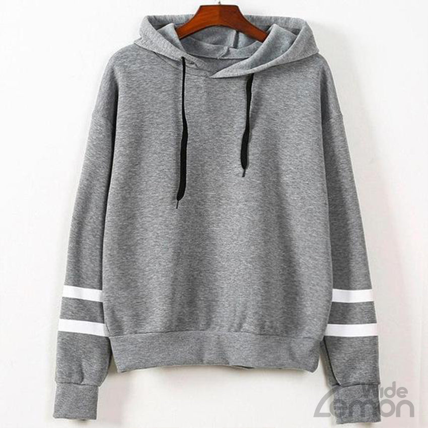 Women Grey Sweatshirt With White Lines