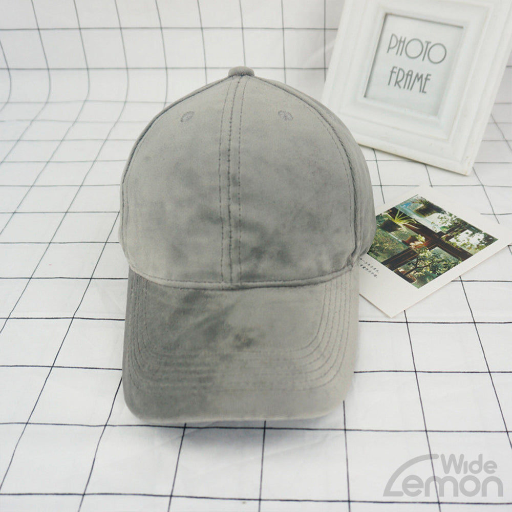 Light Grey Velvet Baseball Cap