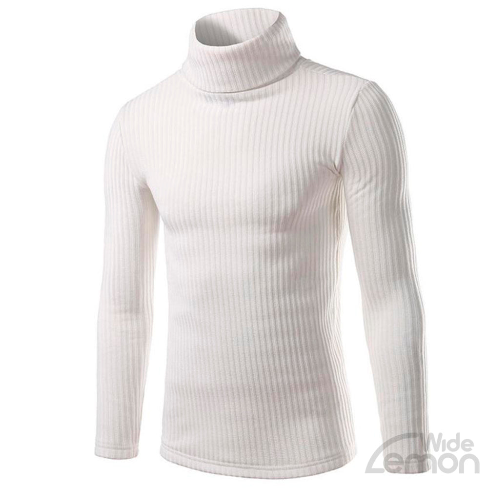 White Casual High-collar Knitwear