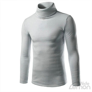 Grey Casual High-collar Knitwear
