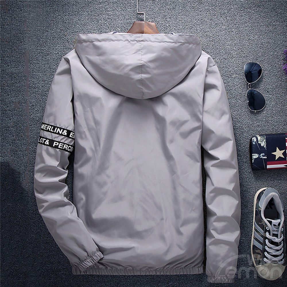 Grey Letters Basic Hooded Jacket