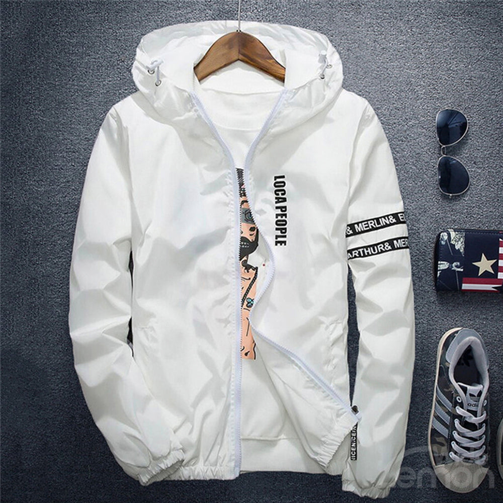 White Letters Basic Hooded Jacket