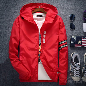 Red Letters Basic Hooded Jacket