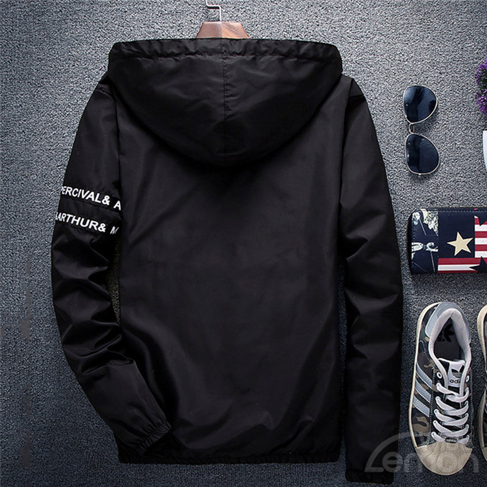 Black Letters Basic Hooded Jacket
