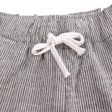 Grey And White Lines Long Trousers