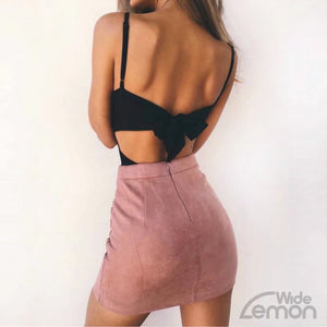Pink High Waist Leather Skirt