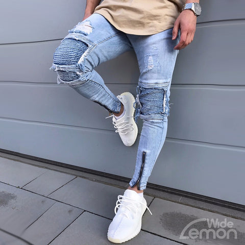 Vintage Blue Ripped Skinny Jeans