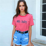 Letters Printed Red Striped T-shirt