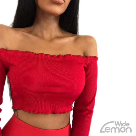 Off The Shoulder Red Crop Top
