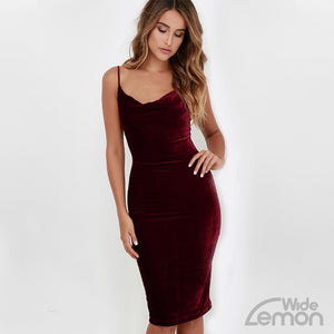 Red Velvet Skinny Dress