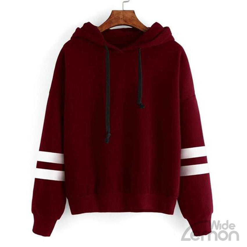 Women Red Sweatshirt With White Lines