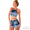 Blue Vintage Print Two Piece Set