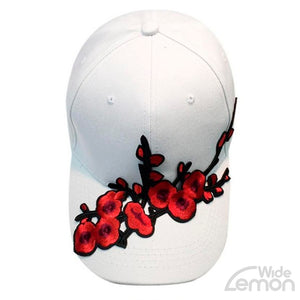 White Flowers Print Cap