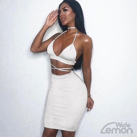 White Two Piece Set Dress