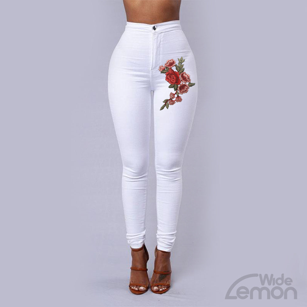 White Skinny High Waist Jeans With Flowers