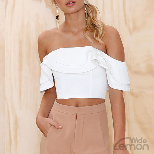 White Off Shoulder Crop Top Shirt