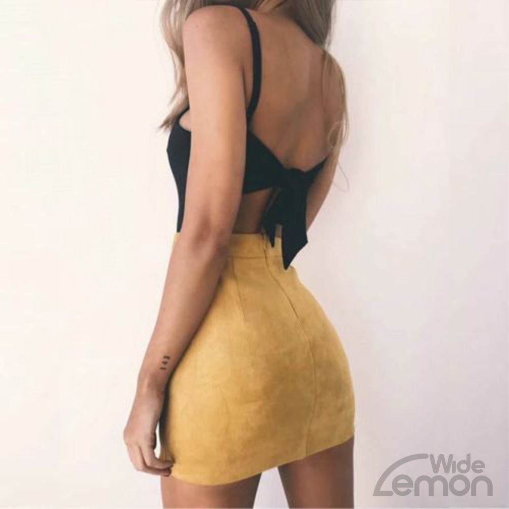 Yellow High Waist Leather Skirt