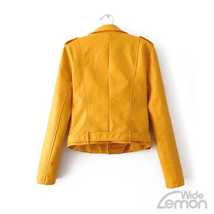 Yellow PU Leather Casual Jacket