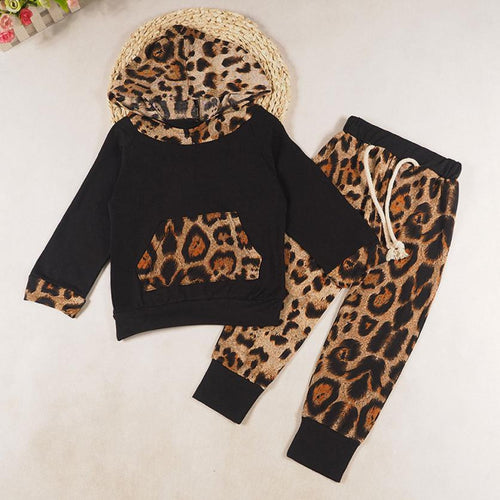 Baby Kids Set Long Sleeve Leopard Print Tracksuit Top + Pants Outfits Set Kids clothing