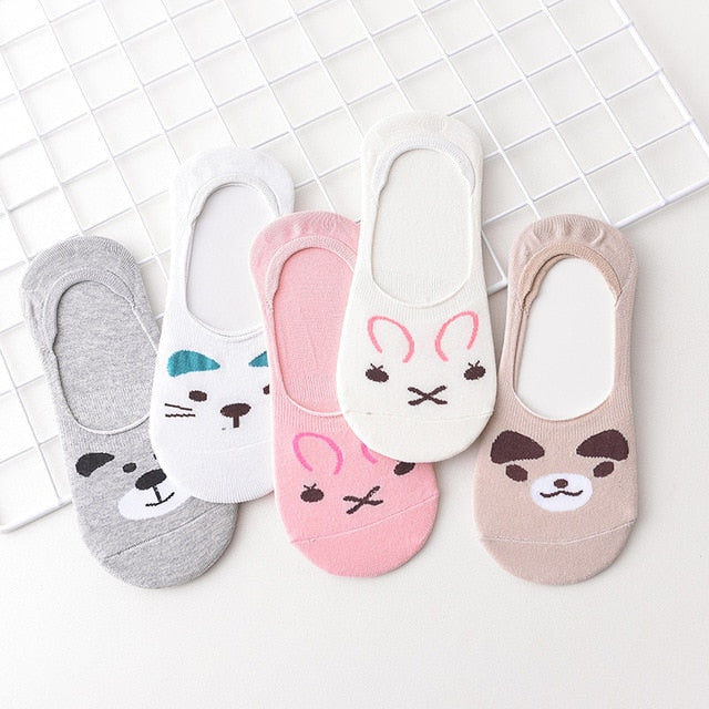 women-sock-5Pairs-Cute-Colorful-Cartoon-Animals-Cat-Face-Low-Invisible-Slippers