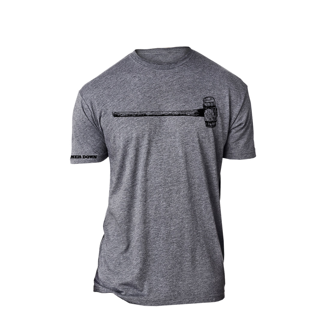 "Hammer Down ""Sledgehammer Drawing"" Short Sleeve Tee Tri Blend Premium Heather Gray Adult Unisex"